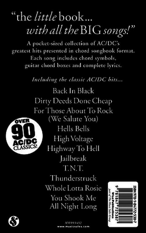 The Little Black Songbook: AC/DC Lyrics and Chords Book *NEW* ACDC ...