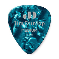 Celluloid Turqiose Pearloid Medium Guitar Pick
