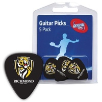 5 x AFL Richmond Tigers Official Guitar Picks *NEW* Pack of 5, 0.8mm, Free Post