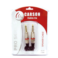 Carson PRO 20 Foot Black Speaker Lead Cable Straight Plug *NEW* High Quality
