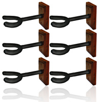 6 x Guitar Wall Hangers, foam padded hook, wood block mount *NEW* wooden, base