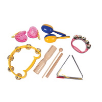 6 Piece Kids Percussion Set *NEW* tambourine, tone block, castanets, maracas
