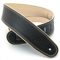 "DSL Guitar Strap Leather Rolled Edge Black/Beige *NEW* 2.5"" Made In Australia"
