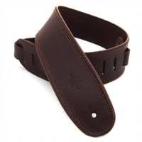 "DSL Guitar Strap Leather Rolled Edge Brown/Brown *NEW* 2.5"" Made In Australia"