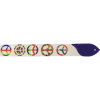 Guitar Strap 'Miss Alexis' Peace *NEW* 2 Inch White Cotton, Suede Leather Ends
