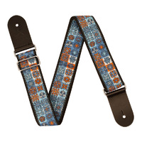 Guitar Strap - XTR 2 Inch Black Deluxe Poly Cotton Vintage Light Blue