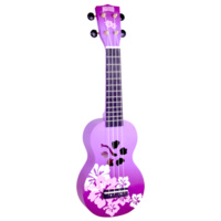 MAHALO Hibiscus Purple Burst Soprano Ukulele and Bag