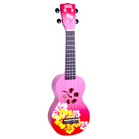 MAHALO Hibiscus Red Burst Soprano Ukulele and Bag *No Stock Available Feb 2018*