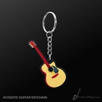 Key Chain Acoustic Guitar Shape, Quality Musical Giftware, Music Gift