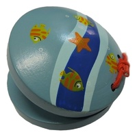 Wooden Castanets Cute Under The Sea Painted Plastic Ages 2+ years