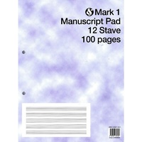 Mark 1 Manuscript Pad 12 Stave 100 pages