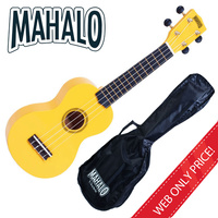 MAHALO Yellow Soprano Ukulele MR1 inc Bag Aquila Strings Fitted *New* Uke