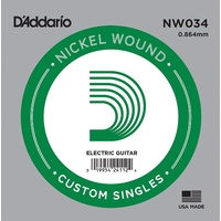 5 x D'Addario NW034 Single Nickel Wound .034 Electric Guitar Strings, String