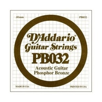 5 X D'Addario PB032 Single Phosphor Bronze Acoustic Guitar Strings