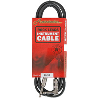 AUSTRALASIAN 10 Foot Guitar Lead / Instrument Cable Black Straight & Angle