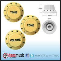 3 X Strat Style Volume / Tone Control Knobs Electric Guitar - Creme