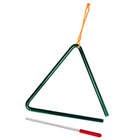 POWERBEAT Triangle 8 Inch Green *NEW* With Beater & Tie, Educational, Fun